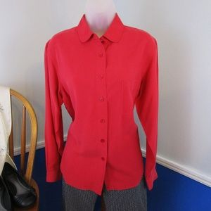 Vintage NWOT Red Silk Button Front Blouse